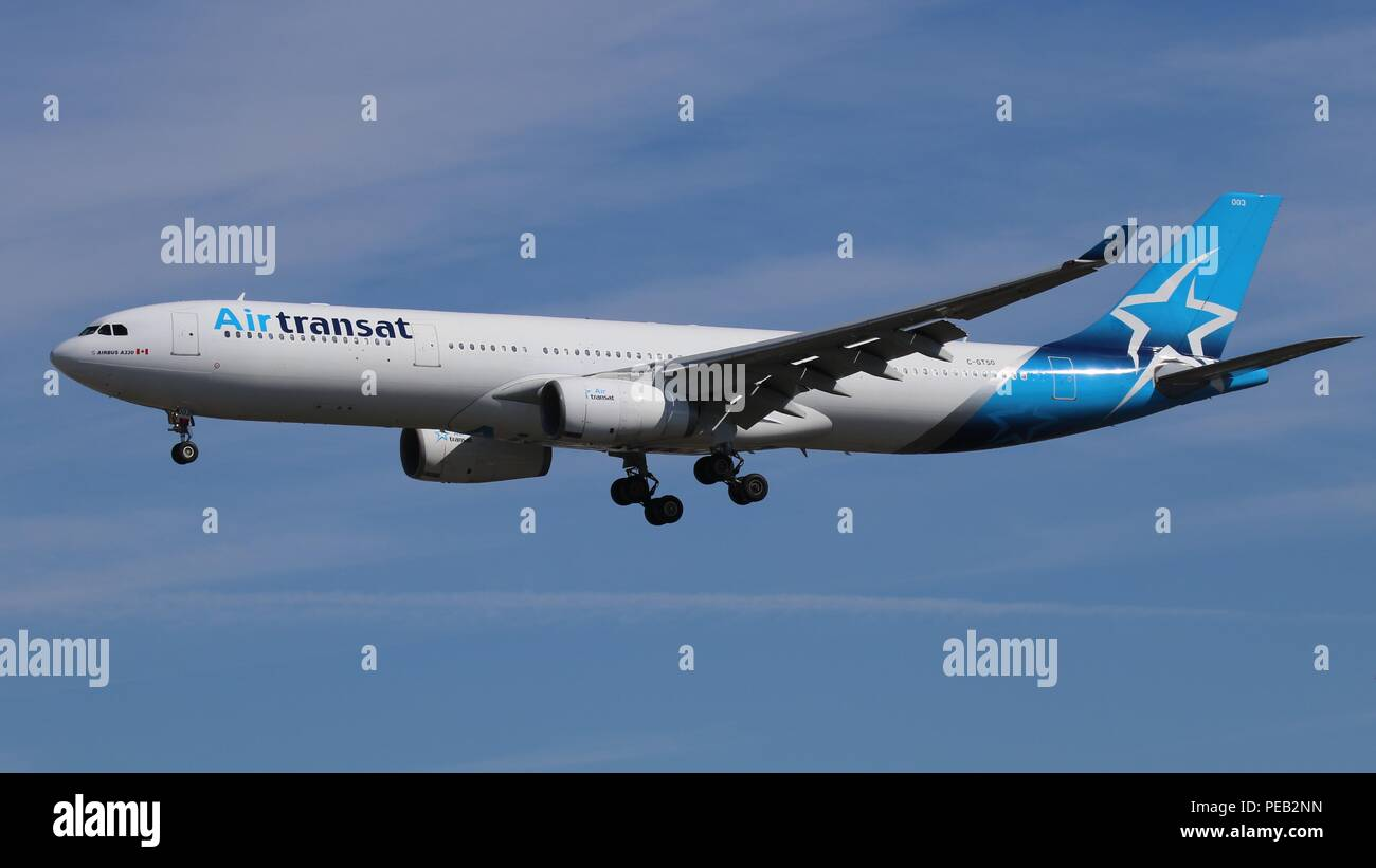 Air Transat Airbus A330 C-GTSO in New colour scheme on short finals for runway 26L at London Gatwick, LGW EGKK on Saturday 11th August 201 - Stock Image
