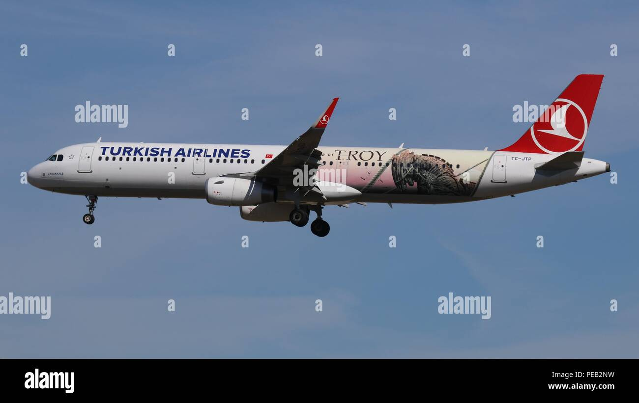 Turkish Airlines Airbus A321 TC-JTP in 'The Year of Tro Livery' on short finals for runway 26L at London Gatwick, LGW EGKK on Saturday 11th August 2018 - Stock Image