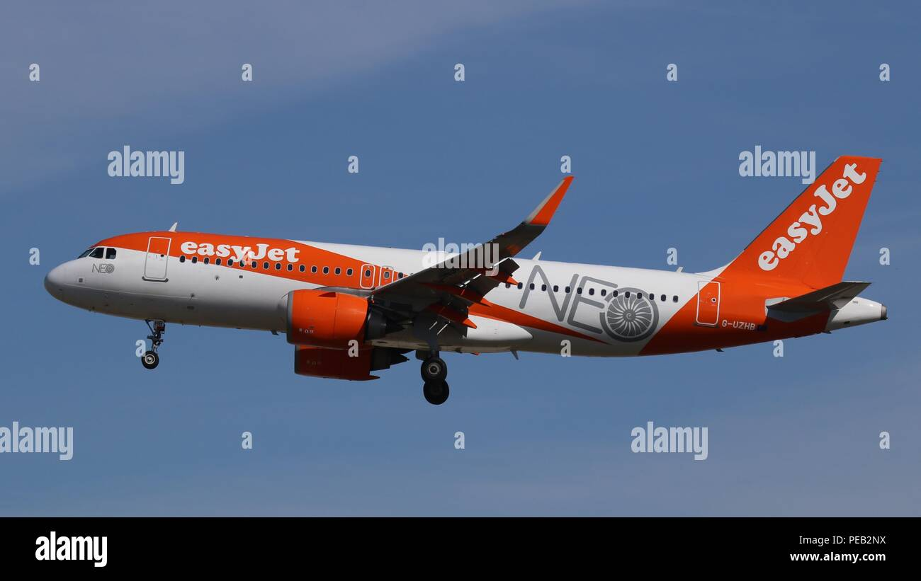 Easyjet Airbus A320 NEO G-UZHB in a special NEO colour scheme on short finals for runway 26L at London Gatwick, LGW EGKK on Saturday 11th August 201 - Stock Image