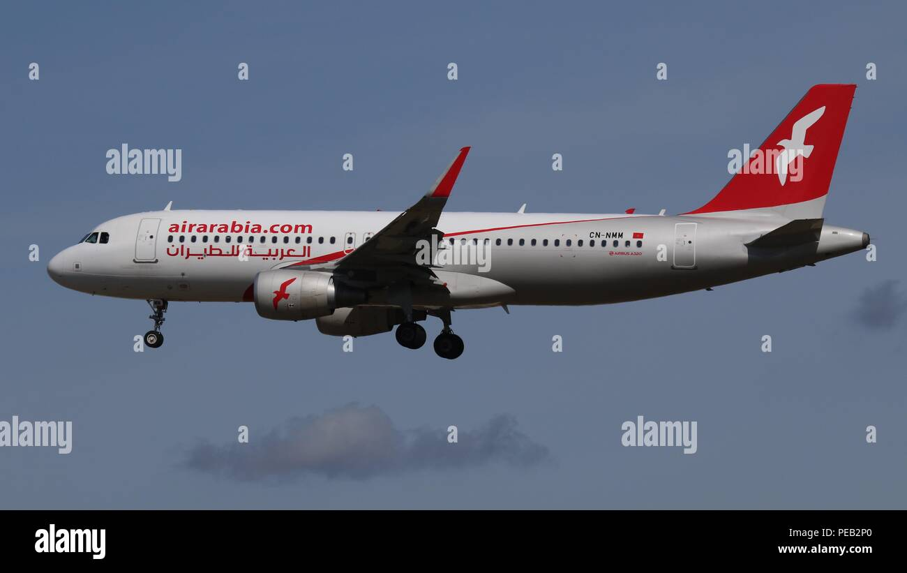Air Arabia Airbus A320 CN-NMM on short finals for runway 26L at London Gatwick, LGW EGKK on Saturday 11th August 2018 - Stock Image