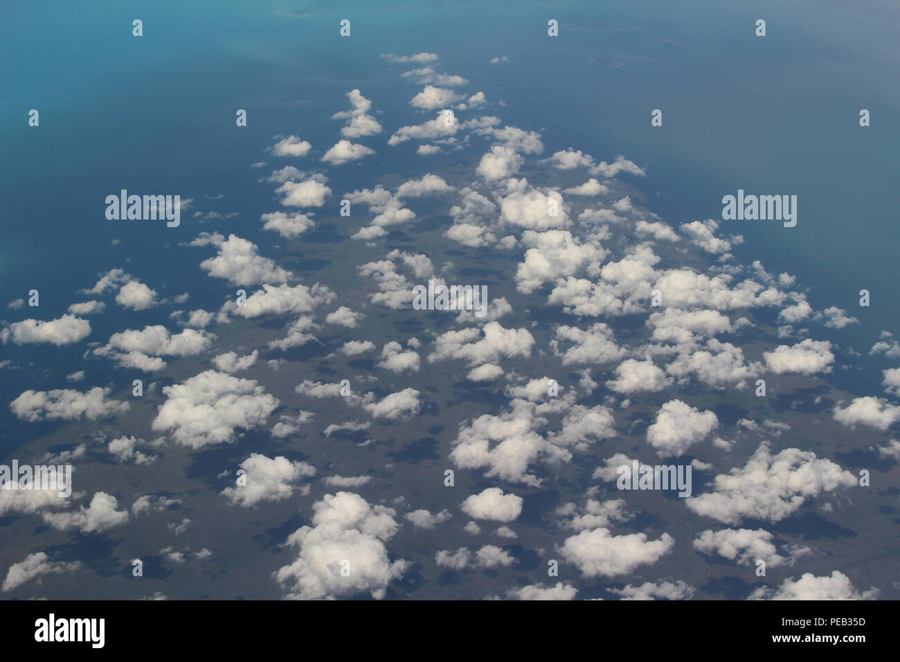 Aerial view of low cloud cover above the Caribbean Sea. - Stock Image