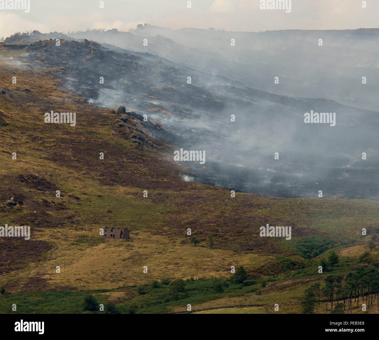 The Roaches fire, August 2018, Staffordshire Moorlands, UK - Stock Image
