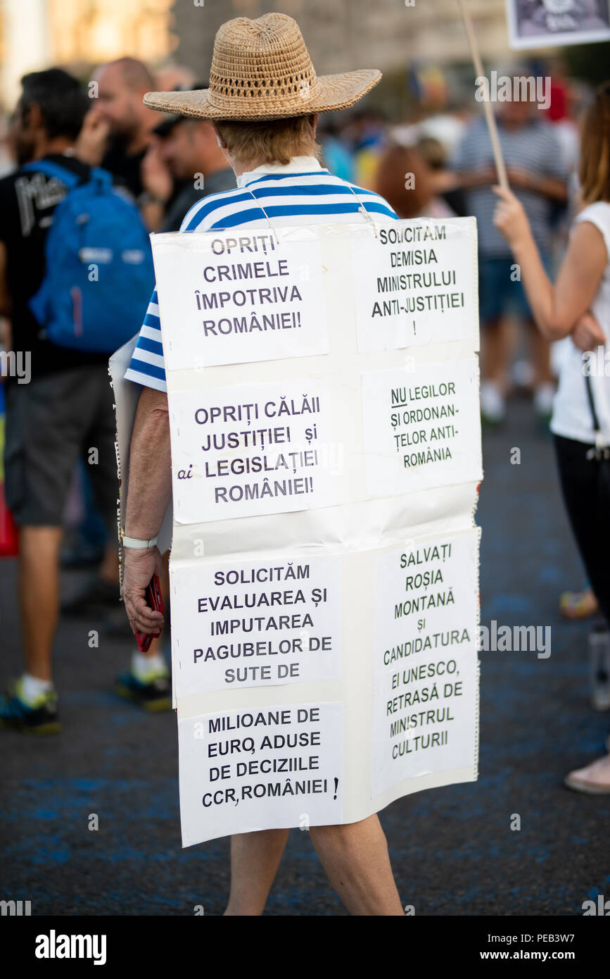 Romania, Bucharest - August 11, 2018: Protester wearing placard with hate speech against corrupted government - Stock Image
