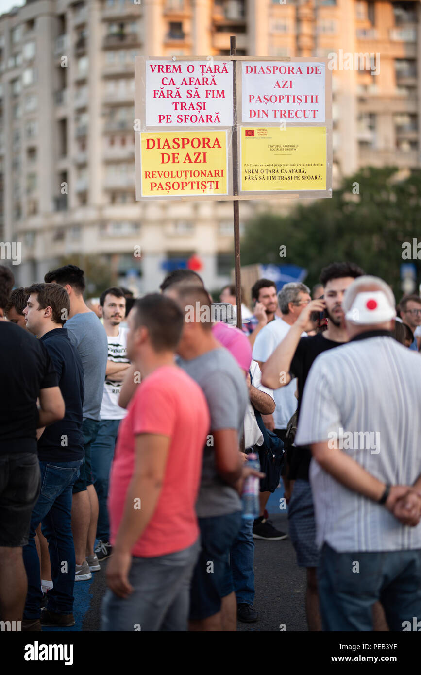 Romania, Bucharest - August 12, 2018: People protesting peacefully against corrupted government - Stock Image