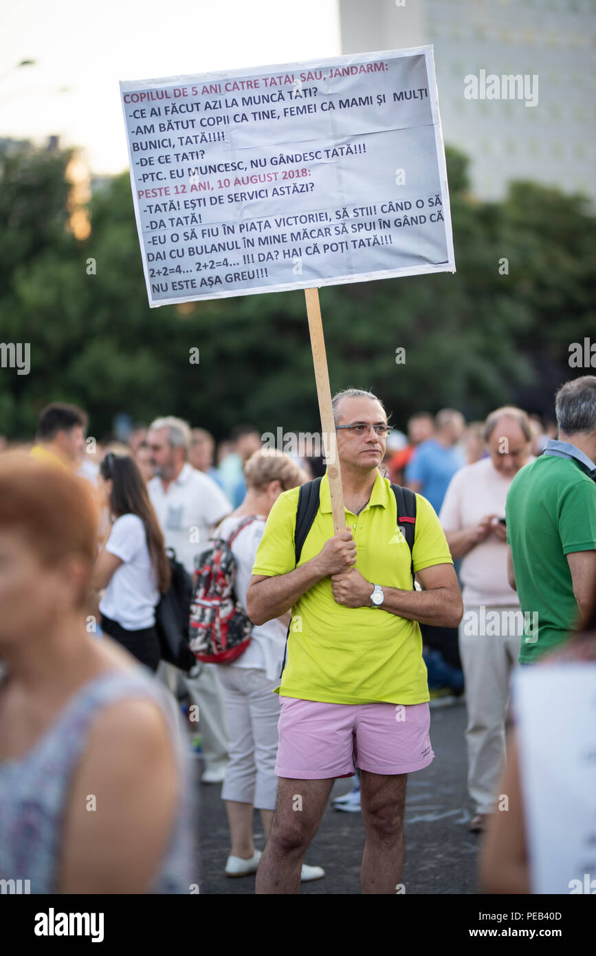 Romania, Bucharest - August 12, 2018: Man protester with single sign - Stock Image