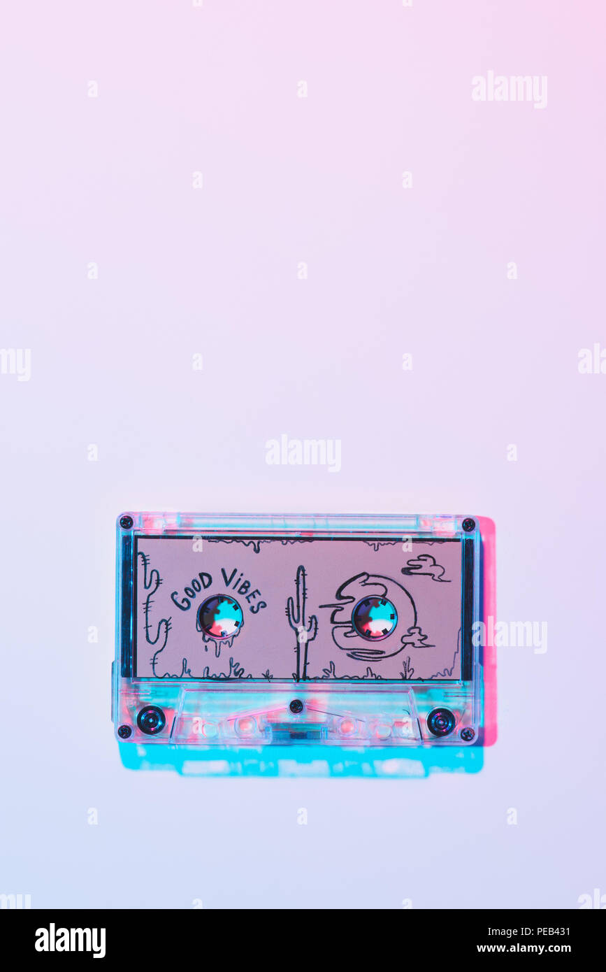 top view of mixtape with good vibes inscription on purple background - Stock Image