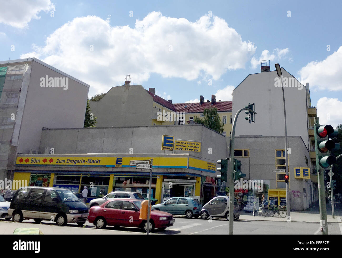 Berlin, Germany. 03rd Aug, 2018. Today's supermarket, which was shown as a Bolle market in the film 'Lola rennt'. Twenty years ago, on 20 August, the film was released. Credit: Gregor Tholl/dpa-Zentralbild/dpa/Alamy Live News - Stock Image