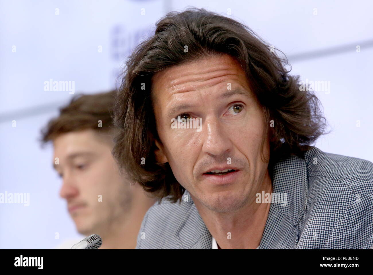 Moscow, Russia. 14th Aug, 2018. MOSCOW, RUSSIA - AUGUST 14, 2018: Alexei Smertin, anti-racism and discrimination inspector of the Russian Football Union, attends a press conference to mark the beginning of the UTLC Cup - Young Eurasian Stars 2018, the second international football tournament for players of European and Asian U14 teams, in Moscow. Vladimir Gerdo/TASS Credit: ITAR-TASS News Agency/Alamy Live News - Stock Image
