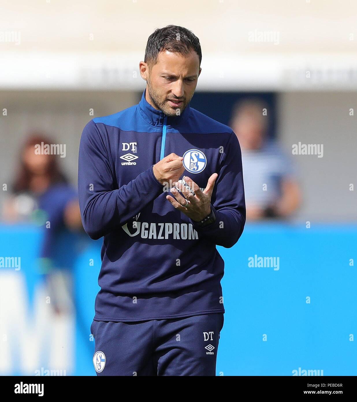 firo: 14.08.2018, football, 1.Bundesliga, season 2018/2019, FC Schalke 04, training, coach Domenico INGLES, gesture   usage worldwide - Stock Image