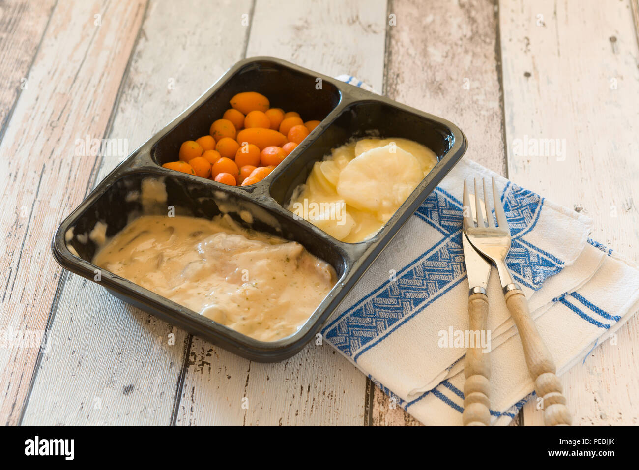 Plastic container with unhealthy and unappealing tv dinner - Stock Image