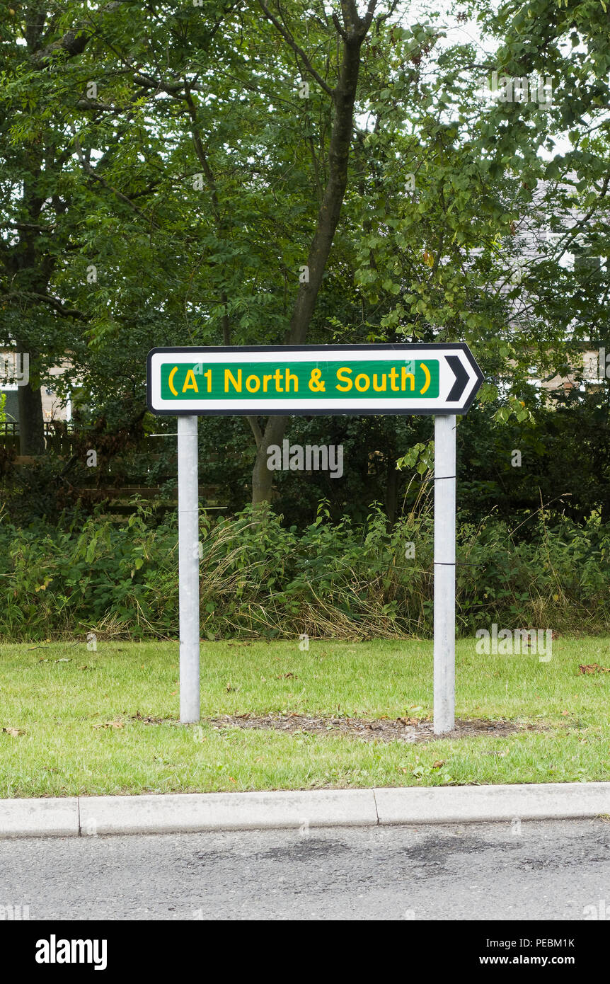 Sign for the A1 road in Northumberland, Uk - Stock Image