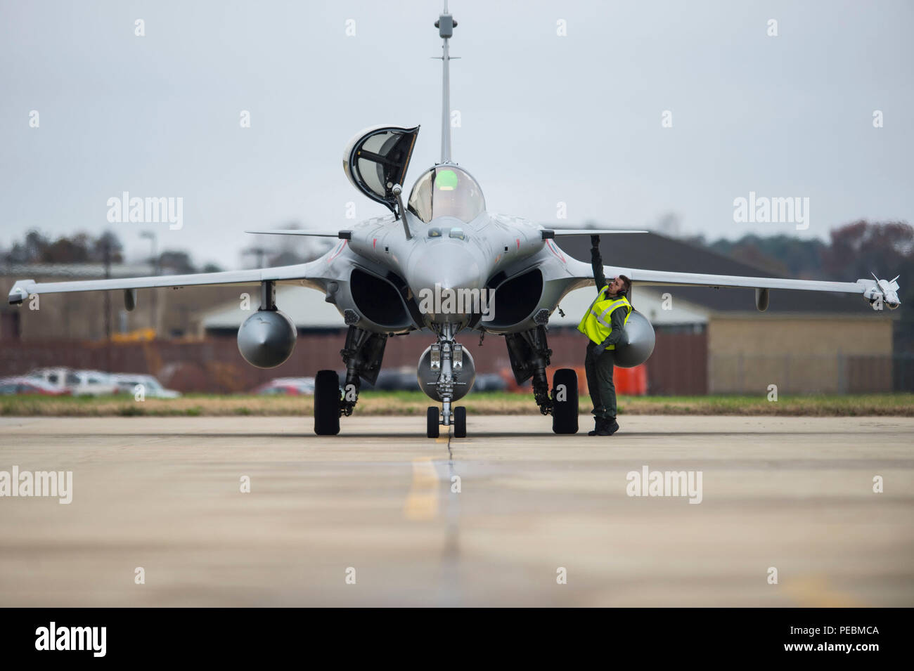 A French Air Force (FrAF) Dassault Rafale arrives for the