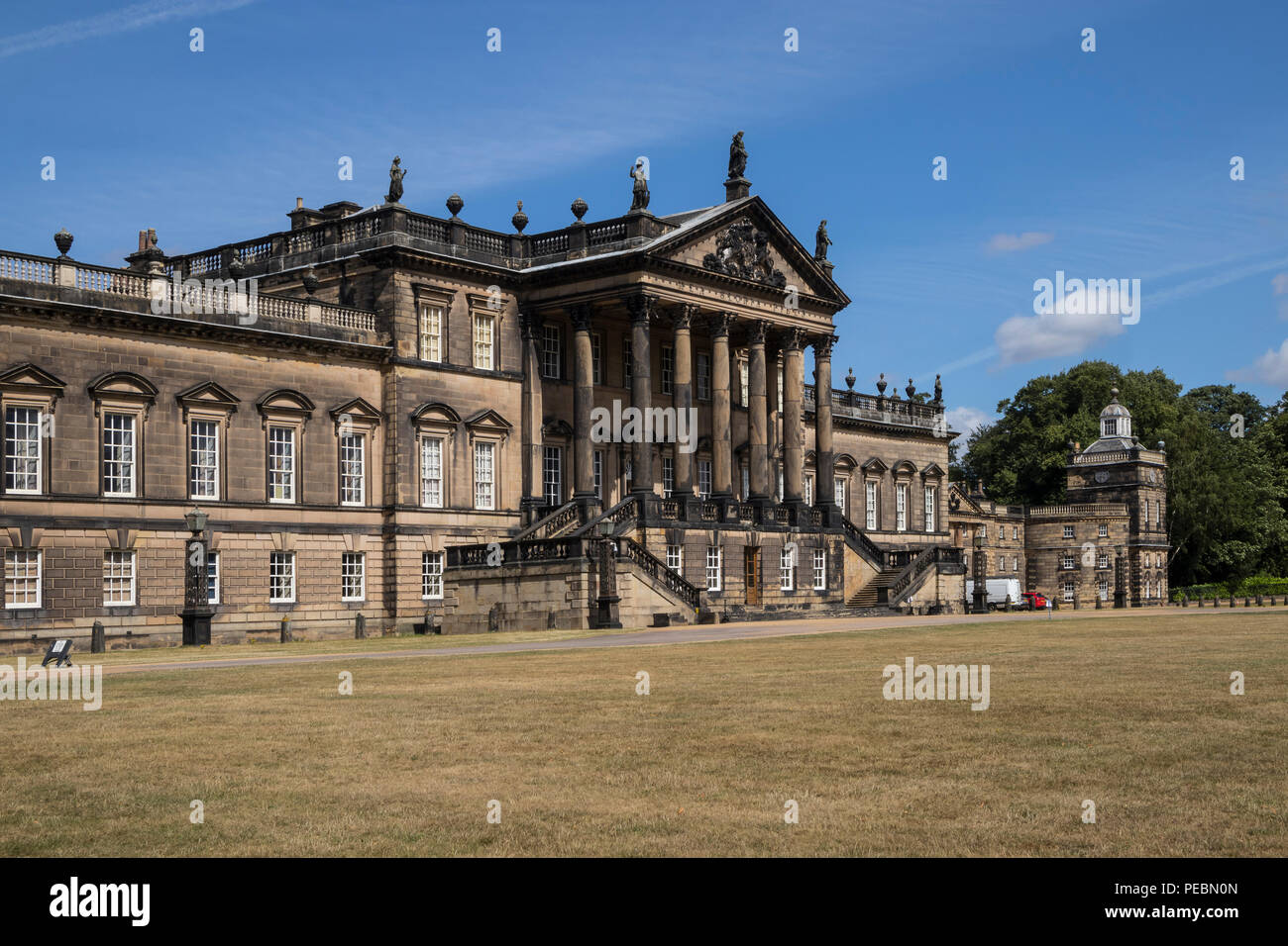 The East front of Wentworth Woodhouse, a Grade 1 listed country house near Rotherham, in South Yorkshire, UK Stock Photo