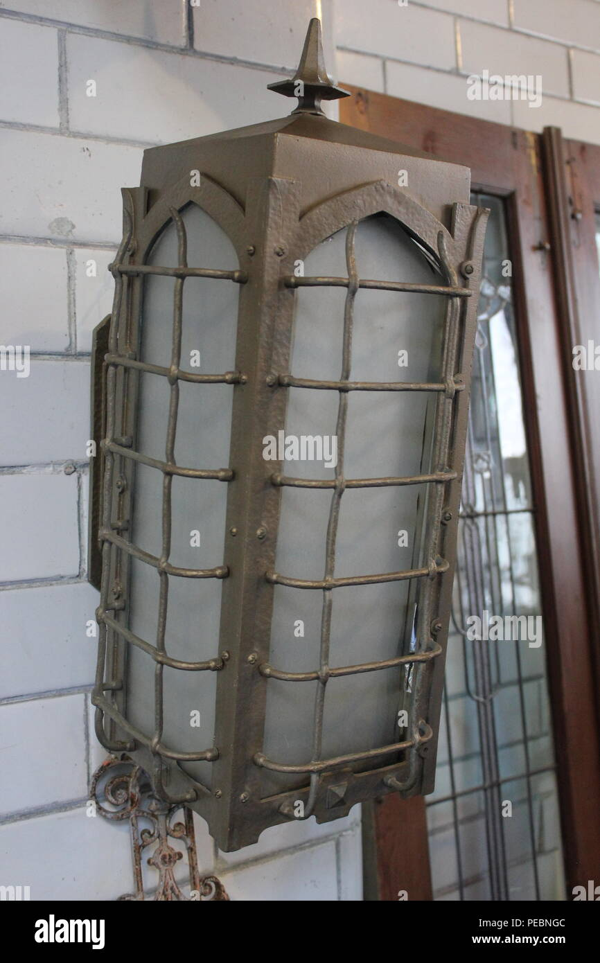 Wall mounted light fixture at Architectural Artifacts in Chicago, Illinois. - Stock Image