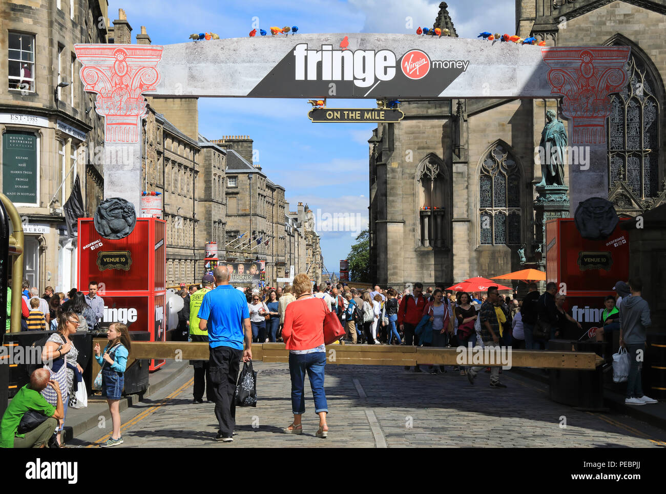 The Royal Mile in Edinburgh, very busy with people visting for the Fringe, 2018, in Scotland, UK Stock Photo