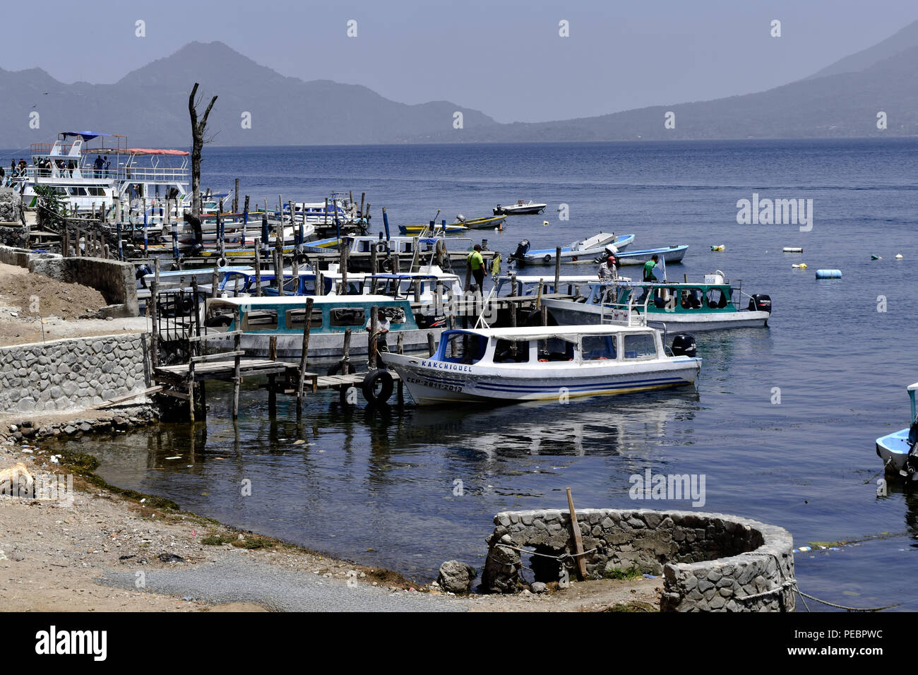 Tourism in lake Panajachel where you can cross by boat to the cities on the volcanoes. 14 July 2018 - Stock Image