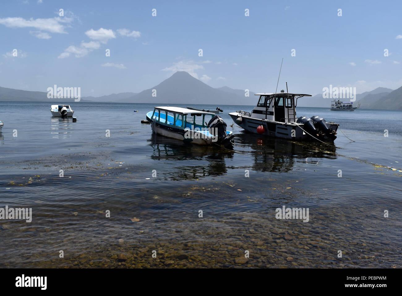 Lake Panajachel in Guatemala in the middle of three volcanoes. 14 July 2018 - Stock Image