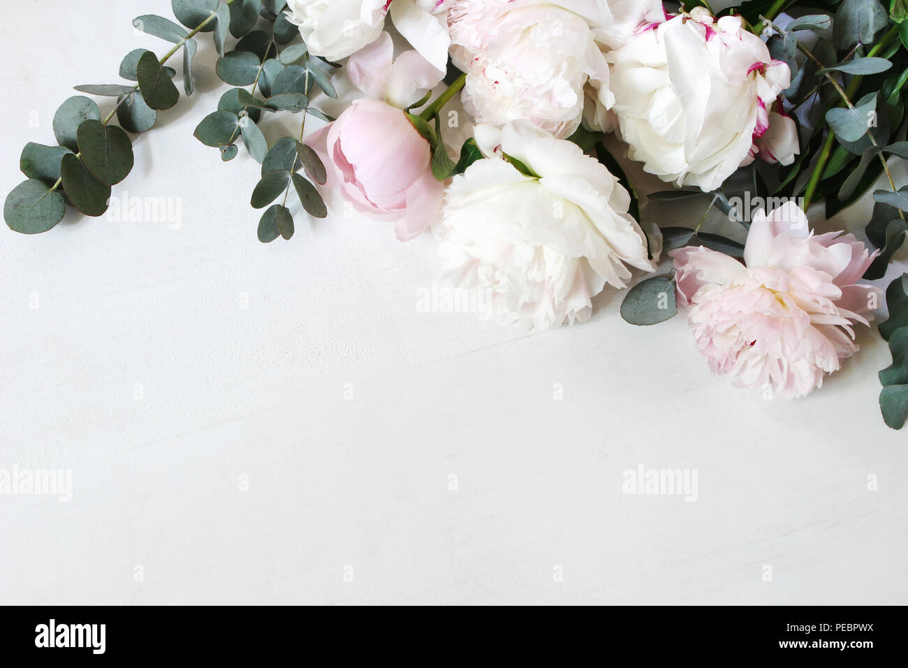 Styled Stock Photo Decorative Still Life Floral Composition Wedding Or Birthday Bouquet Of Pink And White Peony Flowers And Eucalyptus Branches White Table Background Flat Lay Top View Stock Photo Alamy