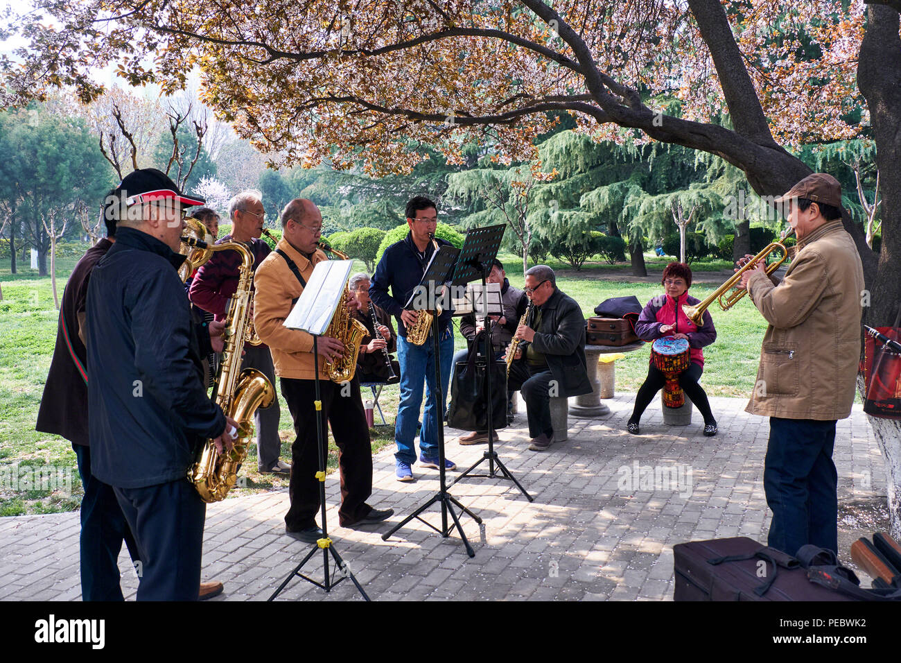 Band of Amateur Musicians Playing in a Park, Xi'an Shaanxi, China - Stock Image