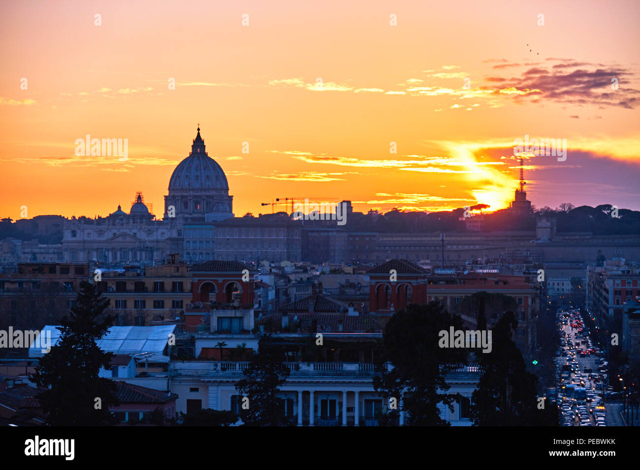 Sunset View of Rome from The Villa Borghese, Rome, Lazio, Italy - Stock Image