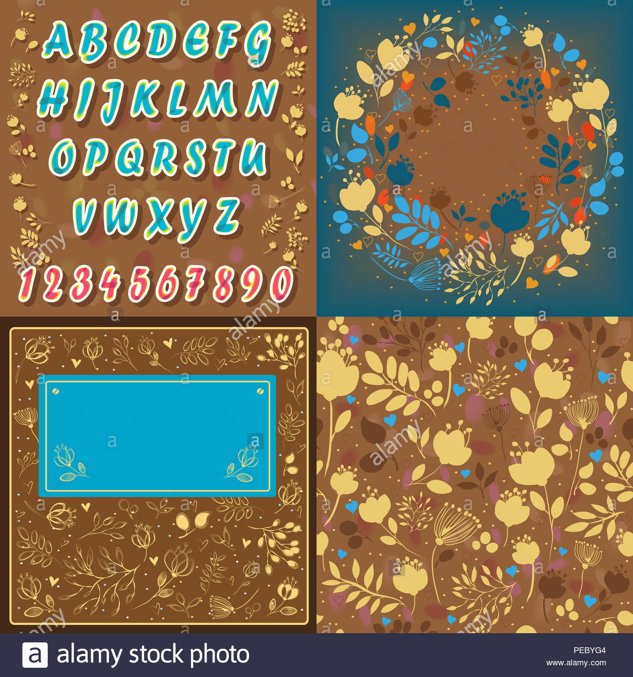 Set Of Floral Font Card Background And Round Pattern Blue Letters
