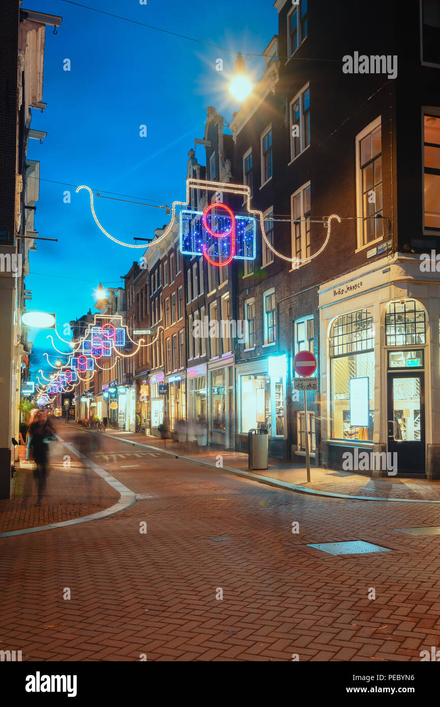 Amsterdam, The Netherlands, December 26, 2017: The Christmas decorated Hartenstraat in the old town of Amsterdam - Stock Image