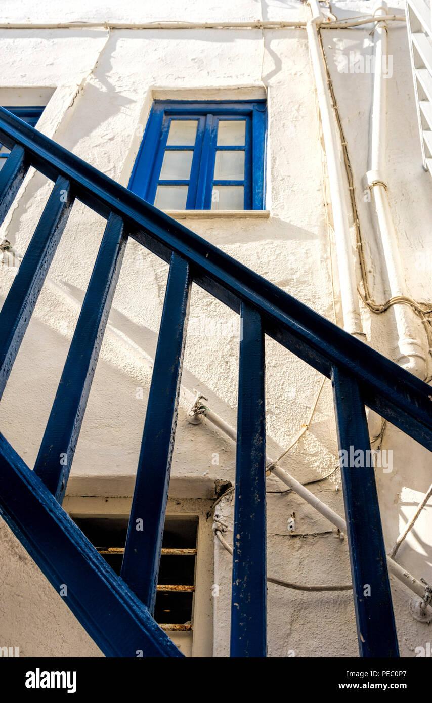 Handrail Mykonos Greece - Stock Image