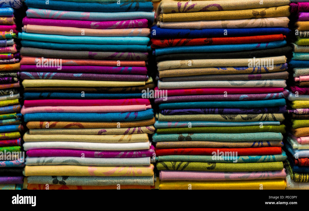 Colourful scarves for sale on market stall Istanbul Turkey - Stock Image