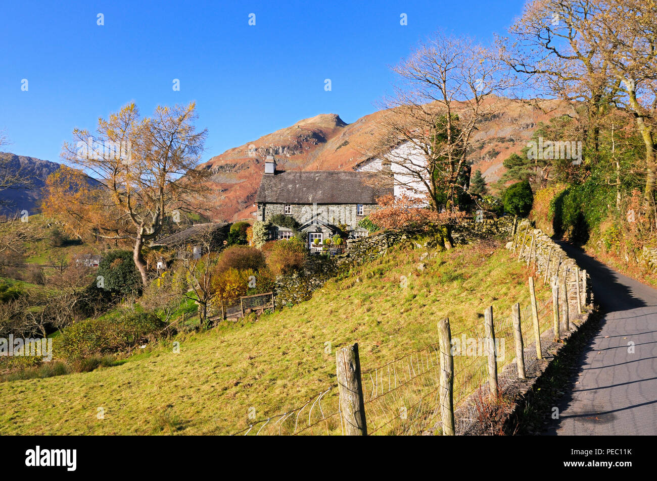 A charming traditional stone cottage in the Langdale Valley, Lake District National Park, England, UK - Stock Image