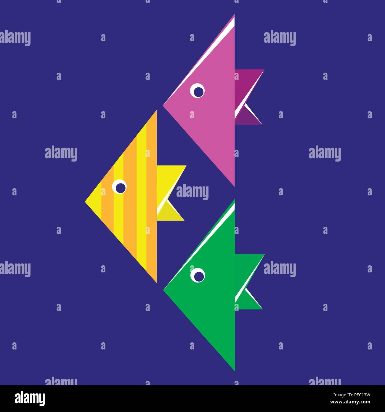 Origami paper multi-colored fishes - Stock Image