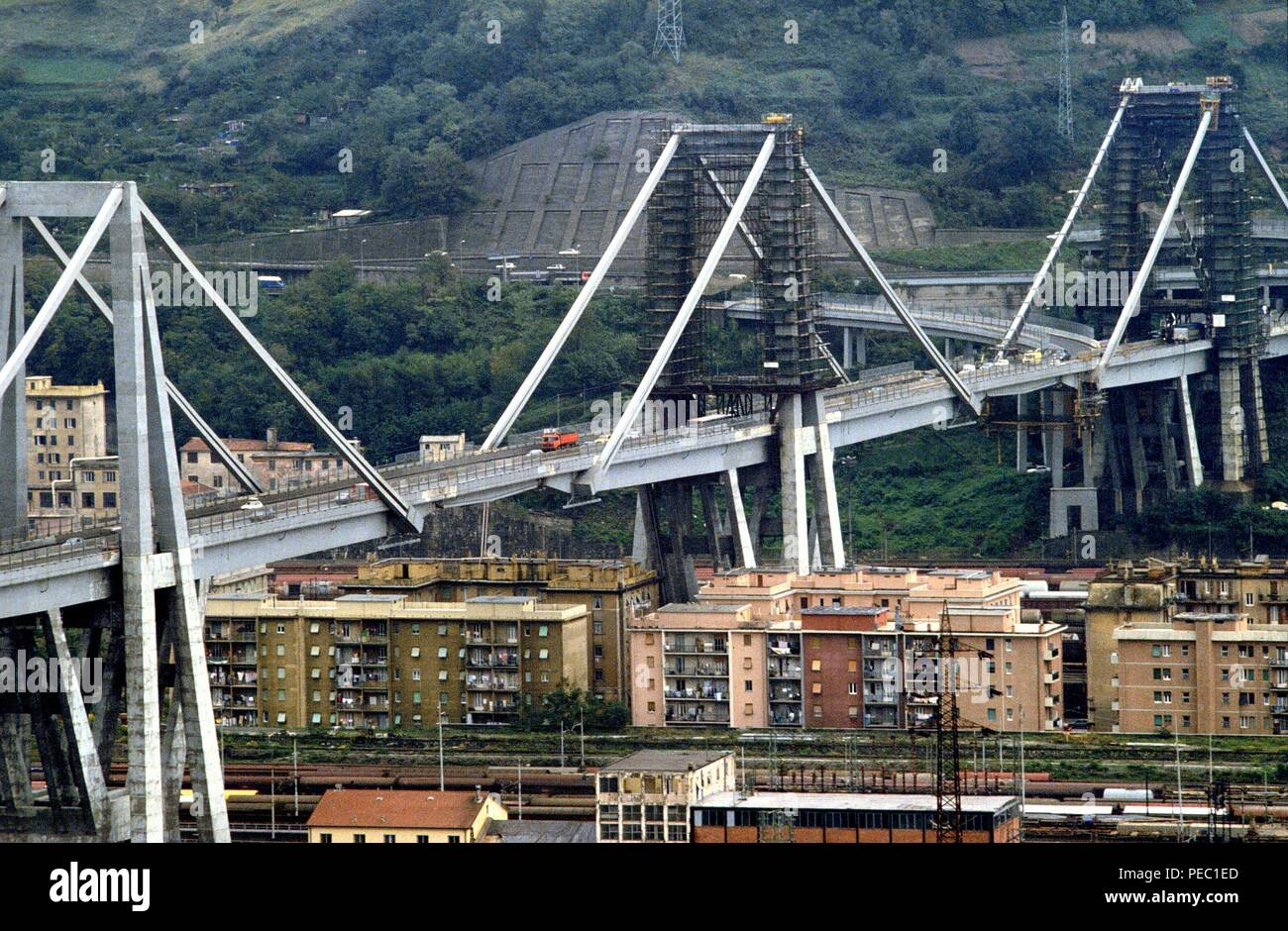 Genoa (Italy), archive photo of the viaduct of the A 10 motorway over Polcevera river called 'Ponte Morandi', which dramatically collapsed on 14 August 2018, causing dozens of deaths. - Stock Image