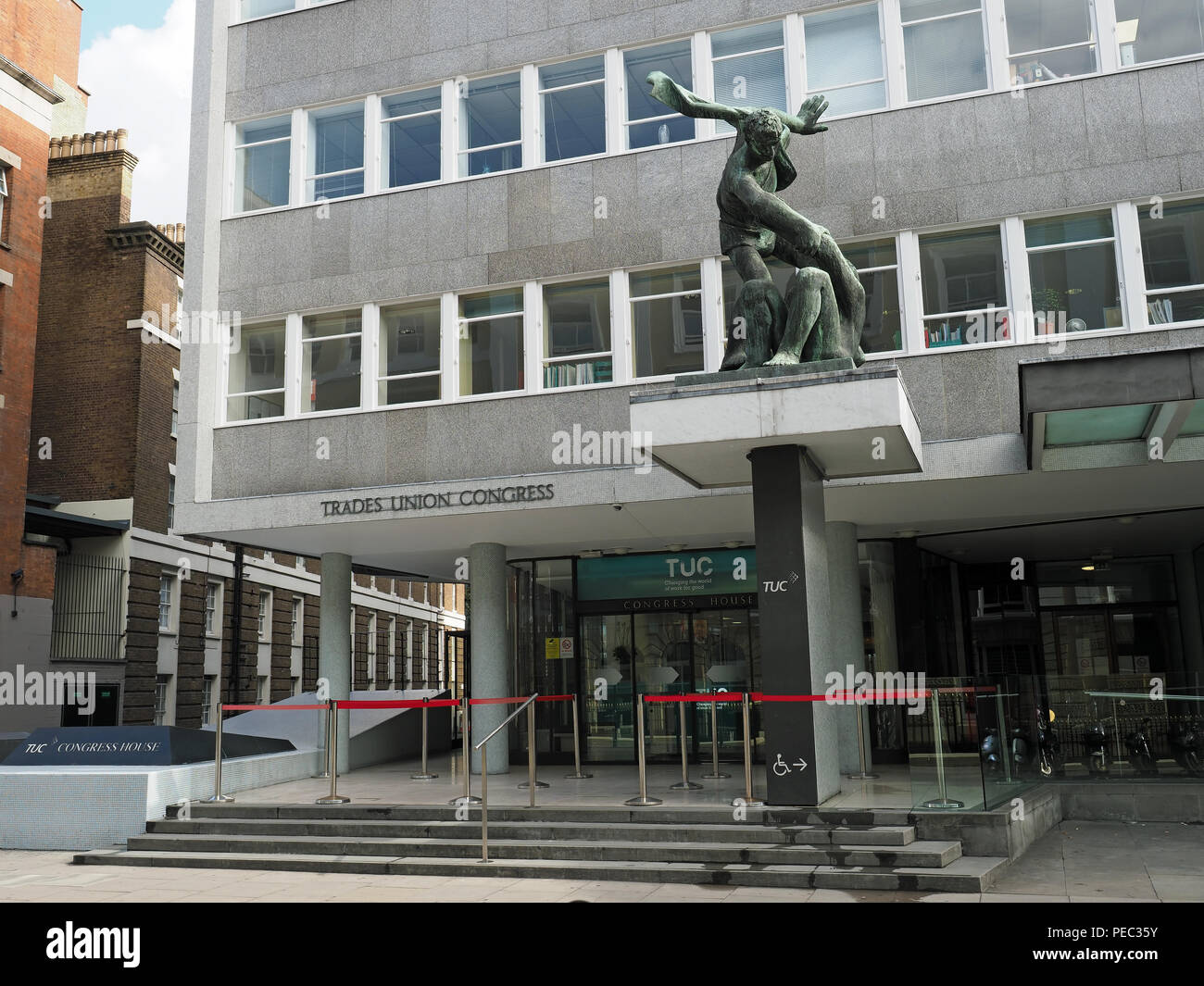 Front view of Congress House the headquarters of the Trades Union Congress (TUC) in Great Russell Street London - Stock Image