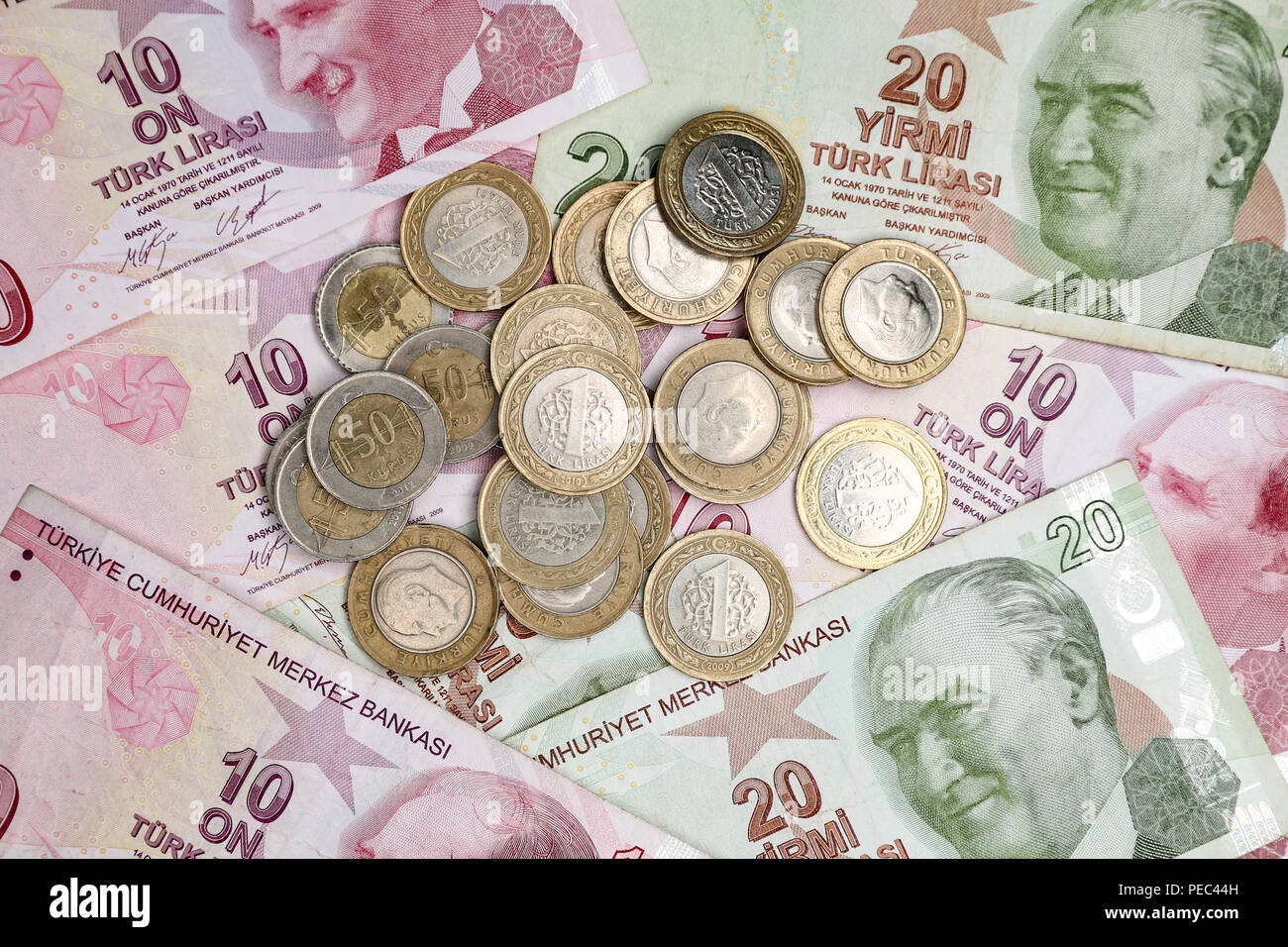 Various Turkish Lira Banknotes and Coins Bunch Stock Photo