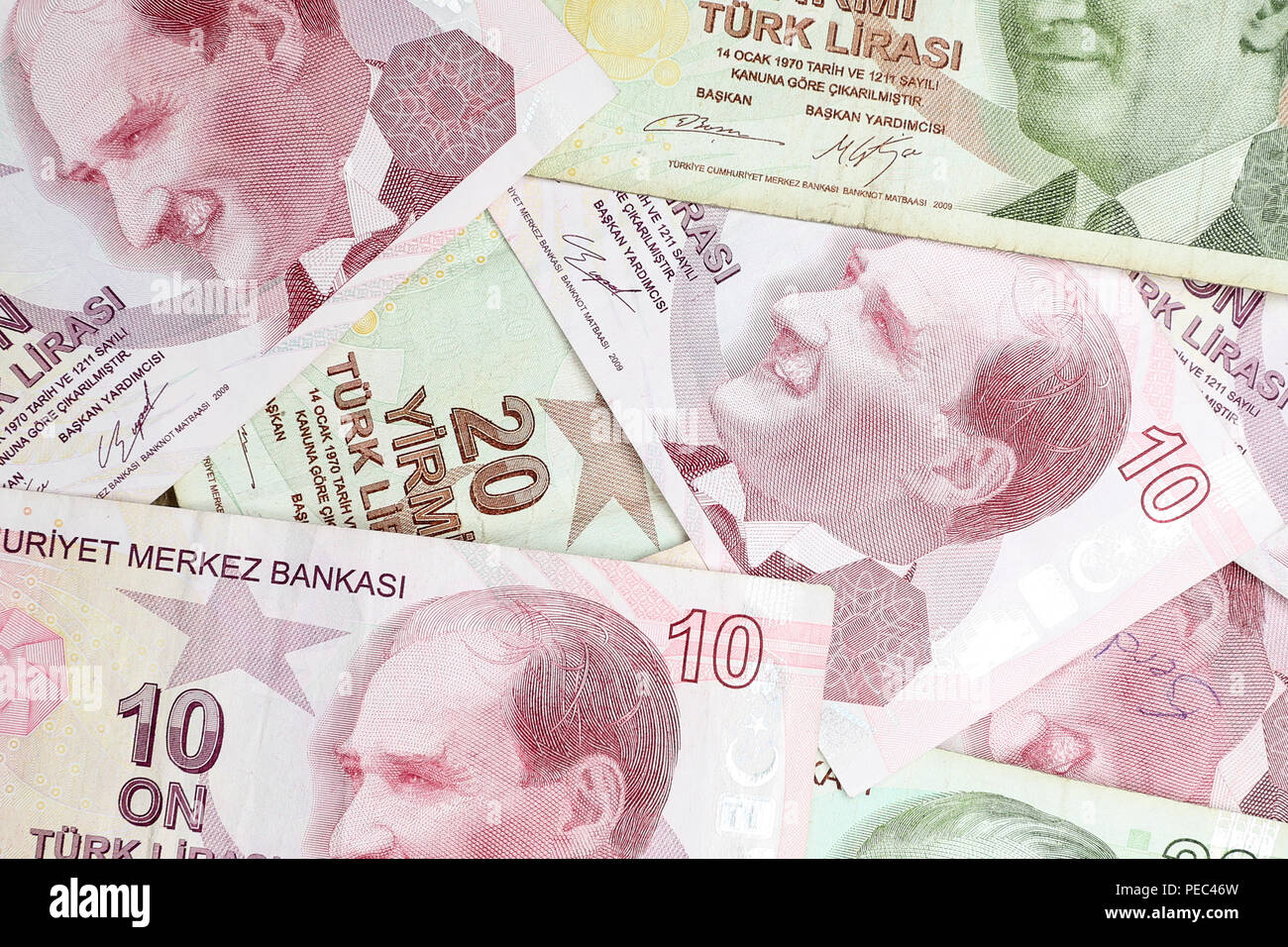 Various Turkish Lira Banknotes Coins Bunch. 10 and 20 TL Stock Photo