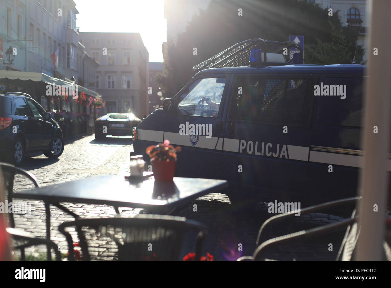 A police van in Bydgoszcz,Poland with a Lamborghini - Stock Photo