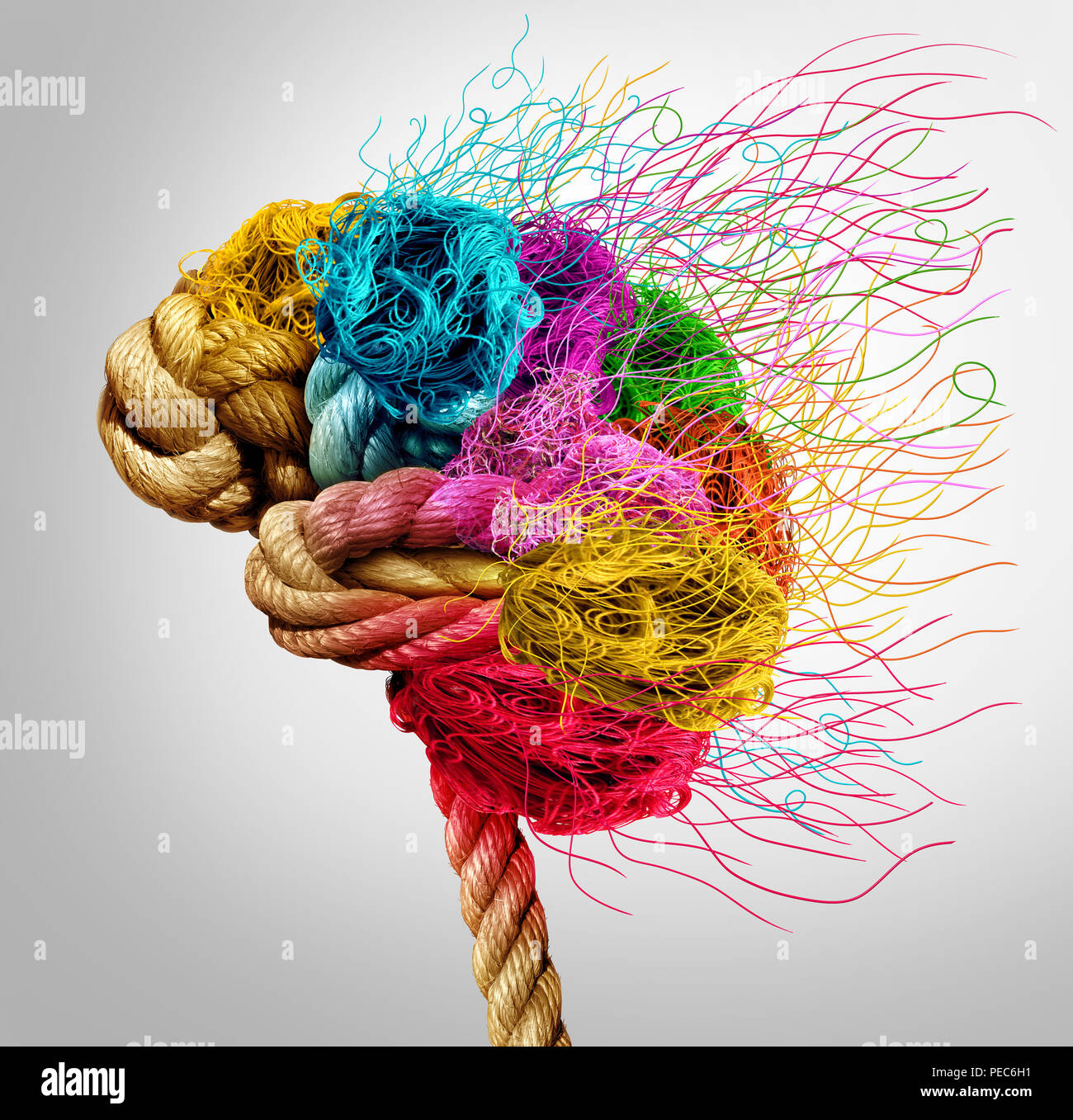 Brainstorming and brainstorm concept or psychology symbol as a creative human mind made of rope and thread in a 3D illustration style. - Stock Image