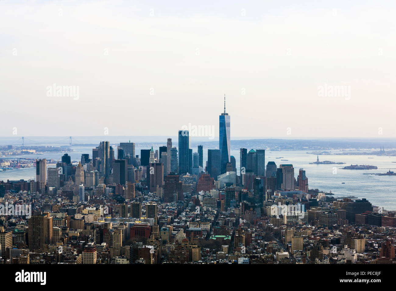 View from above on One World Trade Center and skyscrapers in the financial district, skyline, Manhattan, New York City, New York - Stock Image