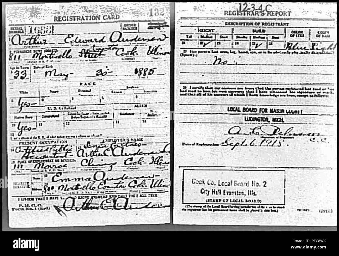 Arthur andersen draft card. - Stock Image