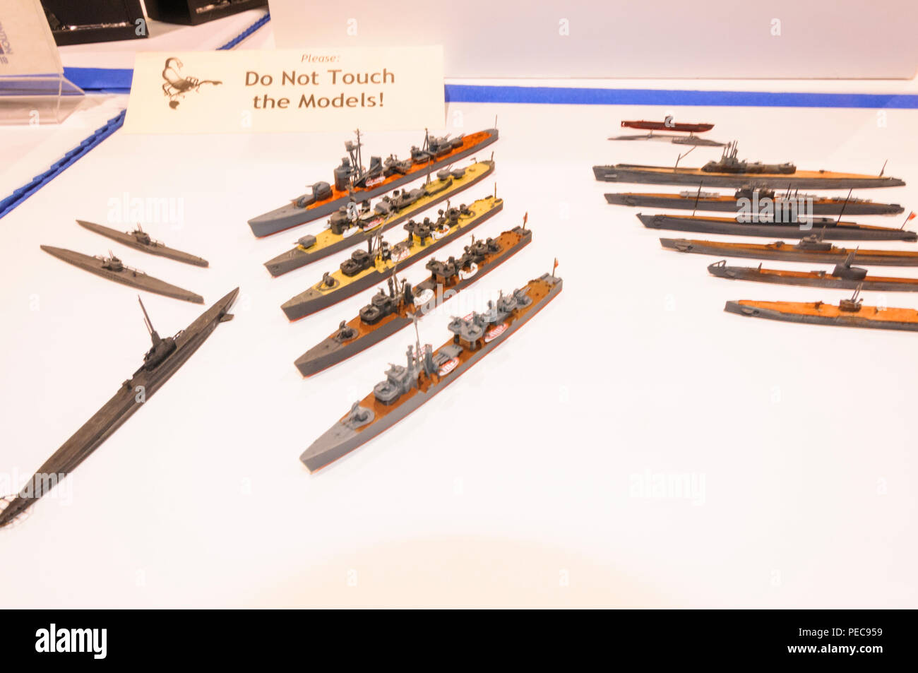 Models of military destroyers are on display at International Modeling convention in Phoenix, Arizona - Stock Image