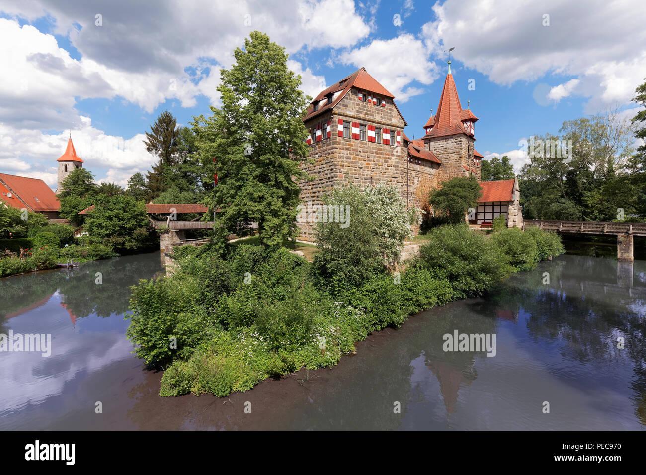 Lauf Castle, River Pegnitz, Lauf an der Pegnitz, Middle Franconia, Franconia, Bavaria, Germany - Stock Image