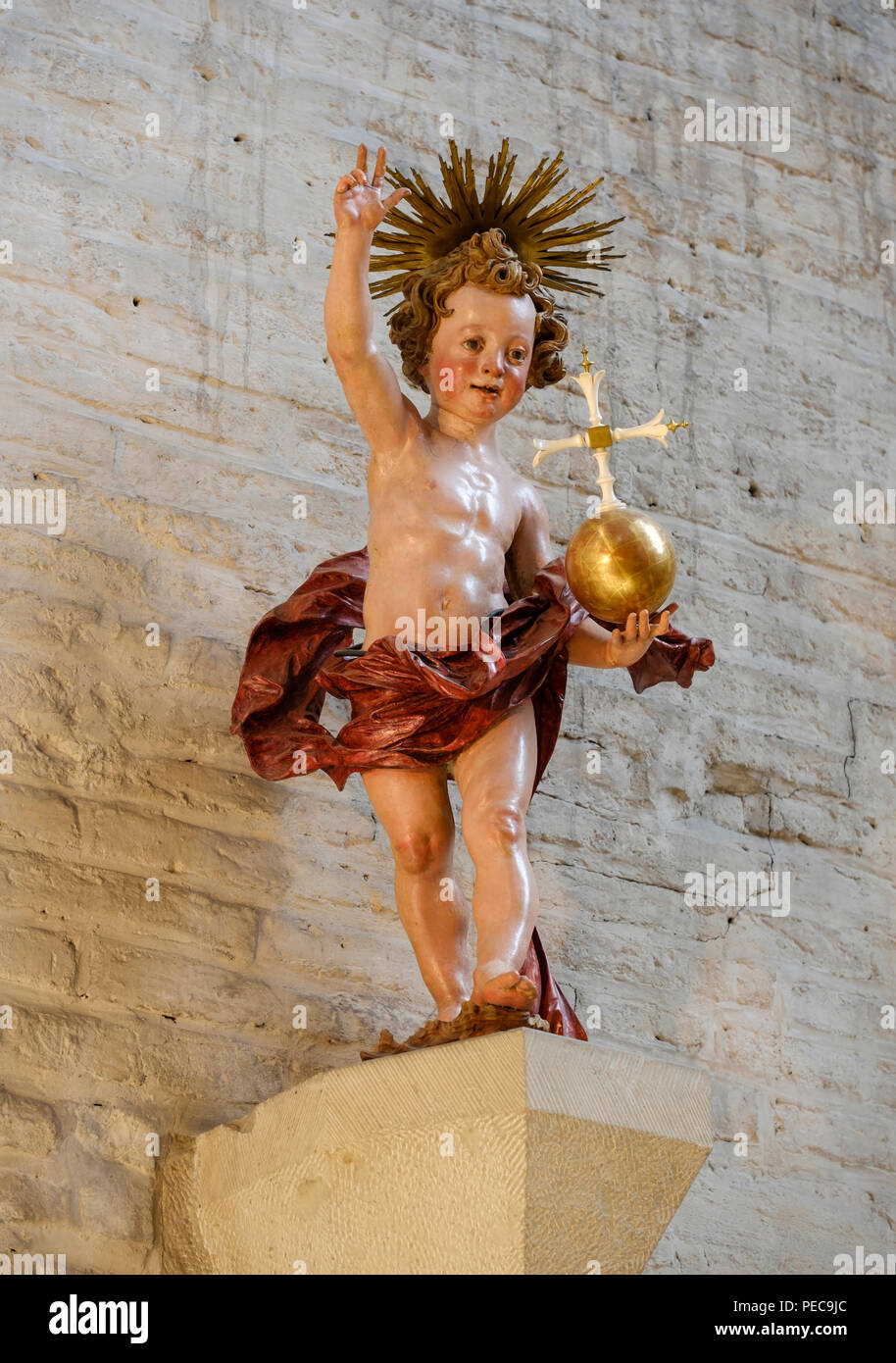 Statue Christ Child by sculptor Georg Petel, 1631, Early Baroque, Barfüßerkirche church, Lechviertel, Augsburg, Swabia Stock Photo