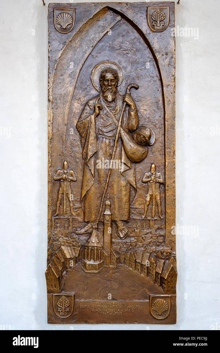 Bronze relief with St. James, St. James's Church, St. James' Way Station, Jakobervorstadt, Augsburg, Swabia, Bavaria, Germany - Stock Image
