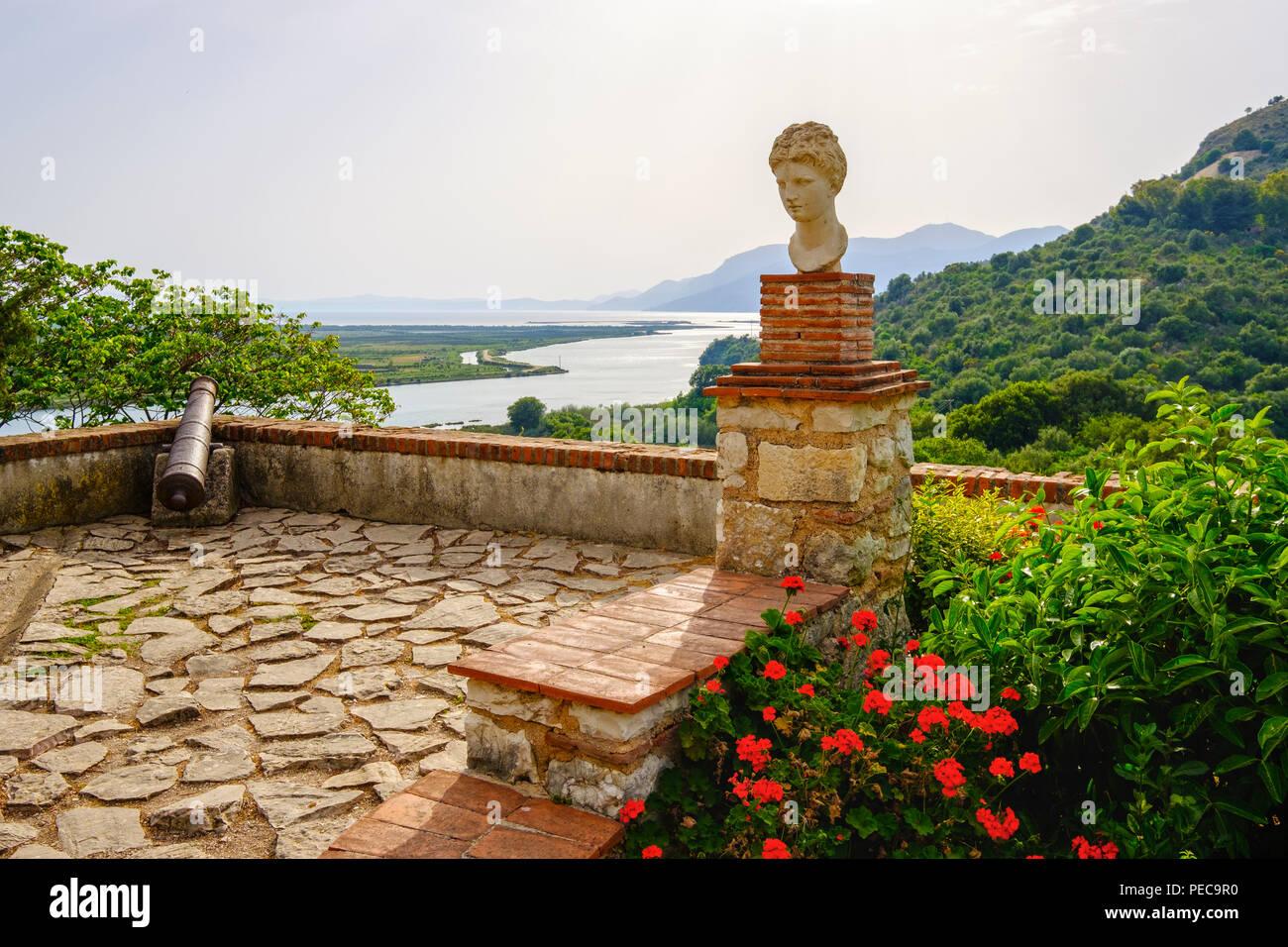 Apollo bust, Venetian castle, ancient city Butrint, Vivar Canal, Butrint National Park, near Saranda, Qarc Vlora, Albania - Stock Image