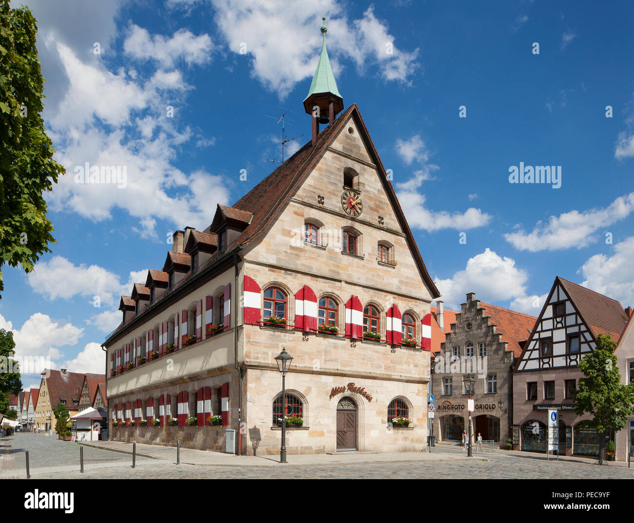 Old Town Hall on market square, Lauf an der Pegnitz, Middle Franconia, Franconia, Bavaria, Germany - Stock Image