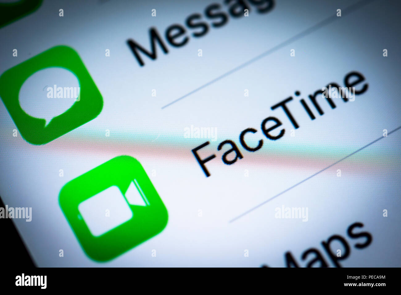 Facetime displayed on an iPhone, iOS, smartphone, display, close-up, detail, Germany - Stock Image