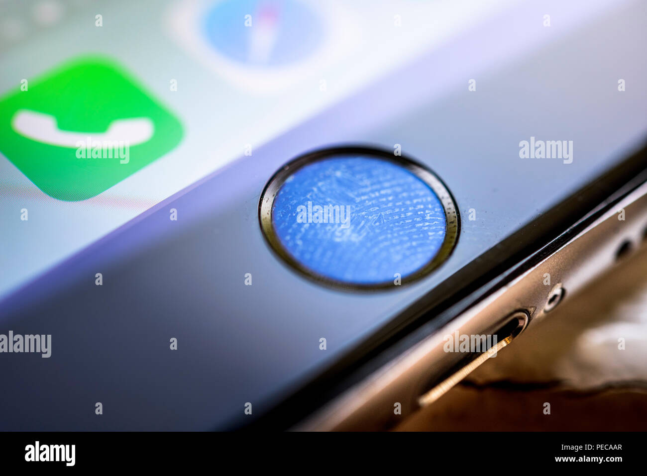 Close-up of Home button of the iPhone 6s with fingerprint on