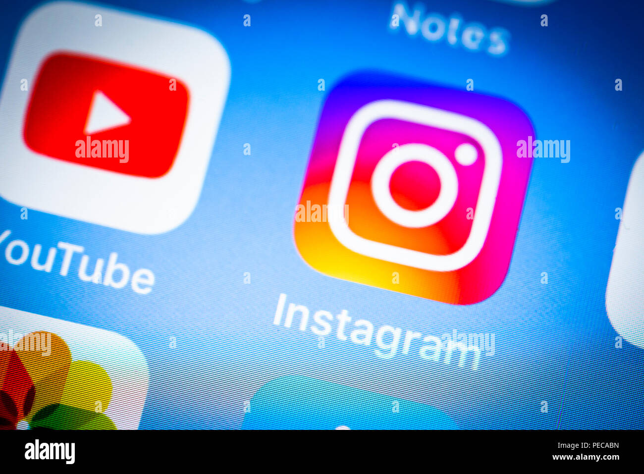 Instagram app icon on iPhone, iOS, social network, smartphone screen, display, close-up, detail, Germany - Stock Image