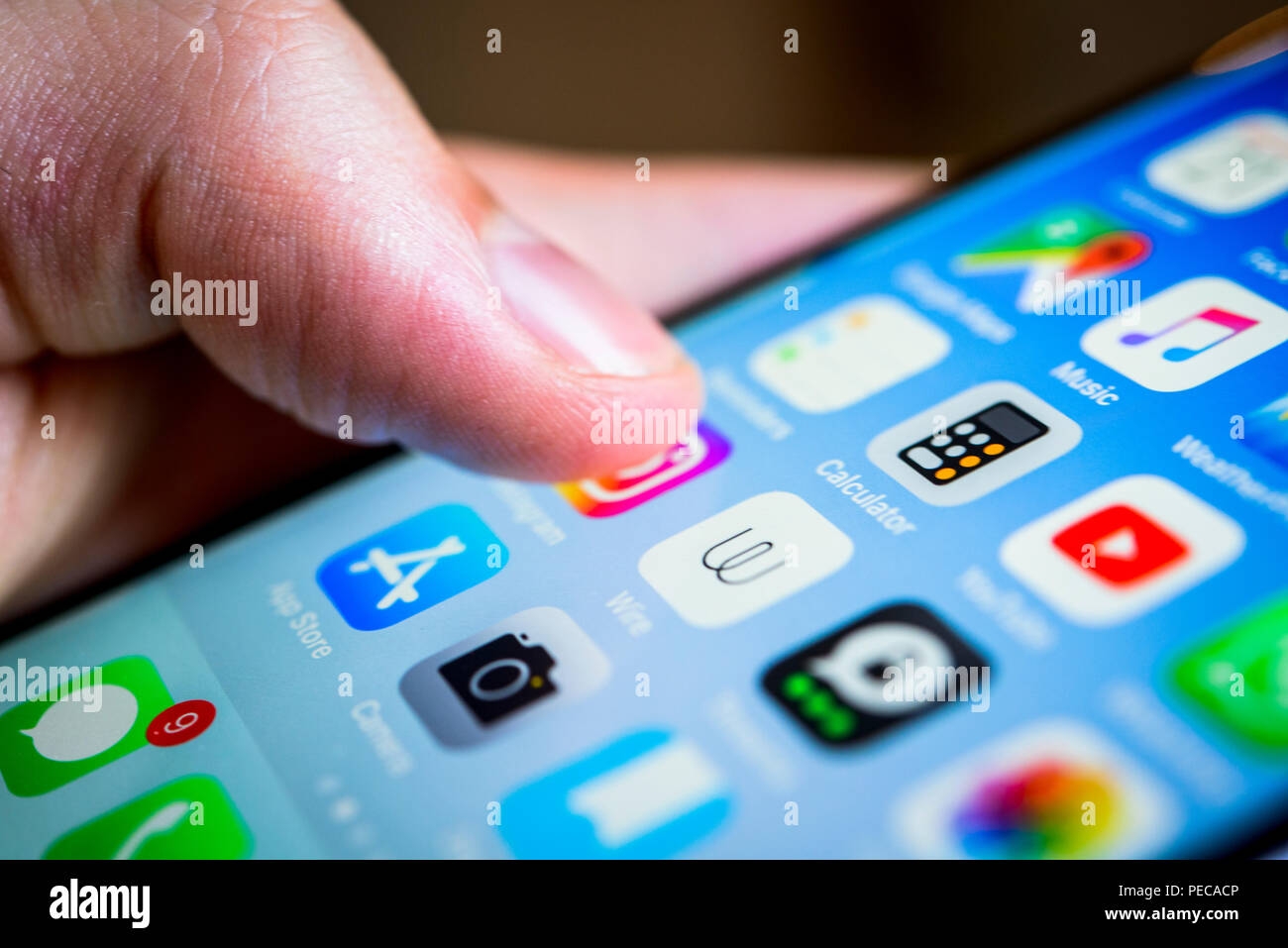 Finger touching display, touchscreen of an iPhone, smartphone, Homescreen, many app icons on the display, Apps, iOS, detail - Stock Image