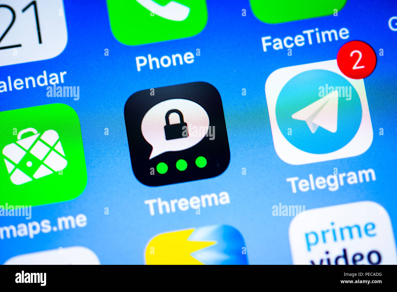 Threema, secure Instant Messenger App, app icon, display, iPhone, iOS, smartphone, display, close-up, detail, Germany - Stock Image