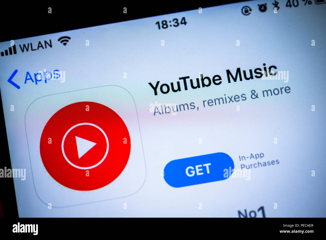 Youtube Music App In The Apple App Store Music Streaming Service Video Platform App Icon Display On A Screen Of A Mobile Stock Photo Alamy